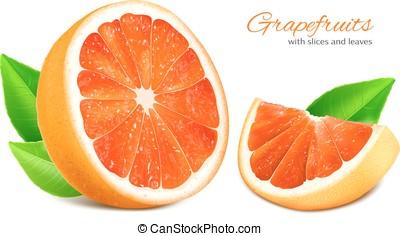 snede, leaves., knippen, grapefruit, helft
