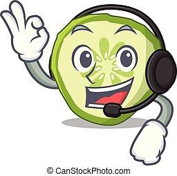 snede, organisch voedsel, koptelefoon, komkommer, groente, mascotte