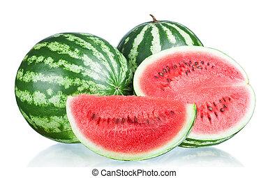 snede, twee, vrijstaand, achtergrond, helft, witte , geheel, watermeloen