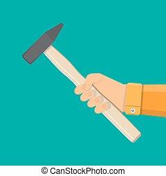 snedker, hammer, værktøj, ind, hånd
