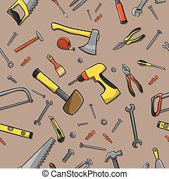 snedker, redskaberne, seamless, mønster