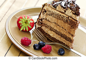 snee van chocoladekleurig cake
