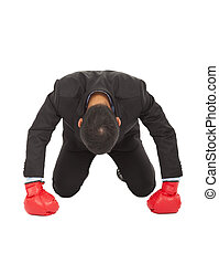 sneeling, boxe, gant,  position,  losed, homme affaires