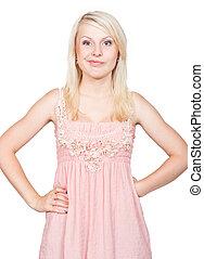 Sneering young beautiful blonde girl