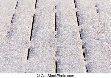 Bedekt hout terras sneeuw vloer hout snow covered