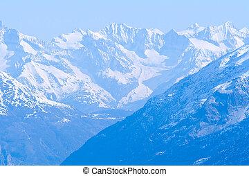 sneeuw, bergketen, landscape