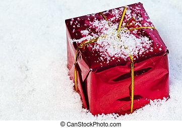 sneeuw, cadeau, kerstmis