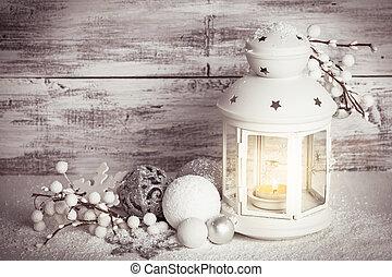 sneeuw, cristmas, lantaarntje