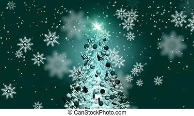 sneeuw, het vallen, op, kerstboom