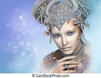 sneeuw, koningin, 3d, cg