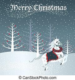 sneeuw, paarde, scène, kerstmis