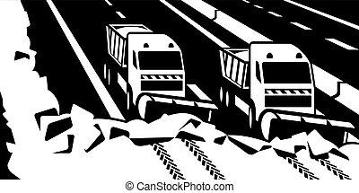 sneeuw ploegen door, vrachtwagens, duidelijk, snelweg