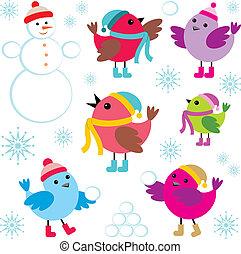 sneeuw, set, man, vogels, winter