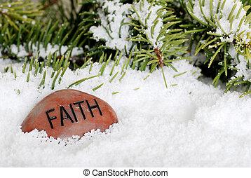 sneeuw, steen, geloof