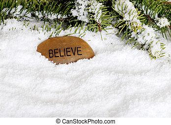 sneeuw, steen, geloven