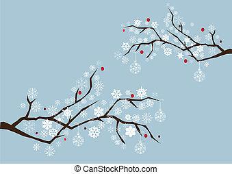 sneeuw, takken