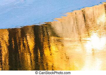 sneeuw, water, ondergaande zon