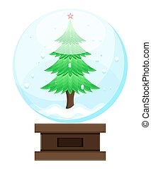 sneeuwbal, boompje, kerstmis