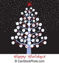 sneeuwbal, vakantie, boompje, kerstmis