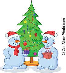 sneeuwballen, boompje, kerstmis
