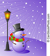sneeuwpop, avond, stalletjes, besneeuwd, lamp, onder