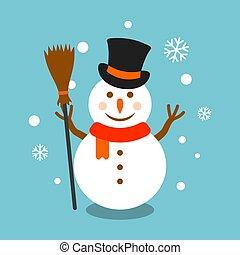 sneeuwpop, bezem, vector, hoedje, illustratie
