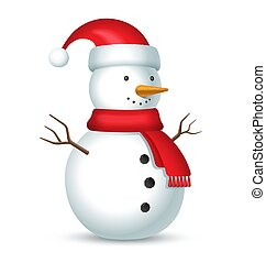 sneeuwpop, bubo, hoedje, sjaal, rood
