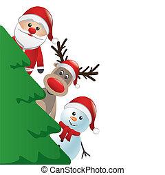 sneeuwpop, c, rendier, achter, kerstman