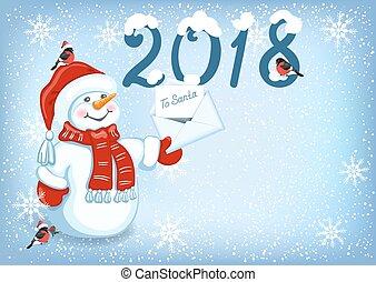 sneeuwpop, claus, kerstman, inscriptie, pet, 2018, brief, bullfinches, kerstmis kaart