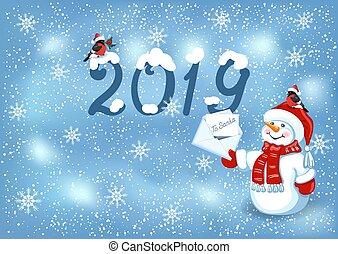 sneeuwpop, claus, kerstman, inscriptie, pet, 2019, brief, bullfinches, kerstmis kaart