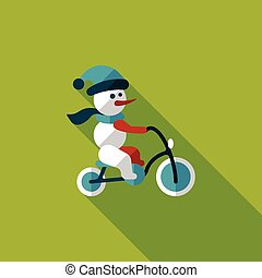 sneeuwpop, cycling, plat, pictogram, met, lang, schaduw