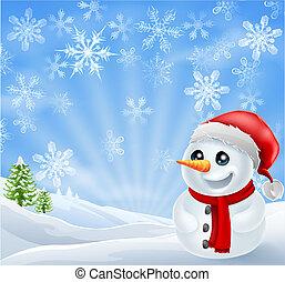 sneeuwpop, de scène van kerstmis, besneeuwd