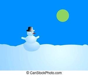sneeuwpop, -, de, veranderende seizoenen