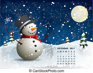 sneeuwpop, december, kalender, -