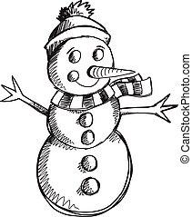 sneeuwpop, doodle, schets, vector, kunst