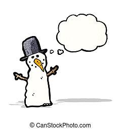 sneeuwpop, gedachte bel, spotprent