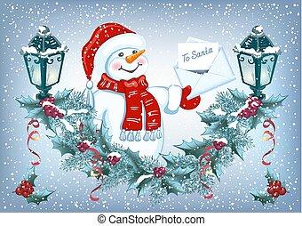 sneeuwpop, gekke , brief, guirlande, claus, decoratief, kerstman, streetlamp., kerstmis kaart