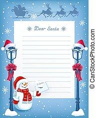 sneeuwpop, gekke , claus, opmaak, kerstman, ouderwetse , claus, spotprent, rendier, straatlantaarn, brief, team, arreslee, kerstmis, vliegen