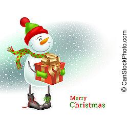 sneeuwpop, het glimlachen, kerstkado