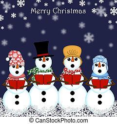sneeuwpop, het zingen, kerstmis carolers