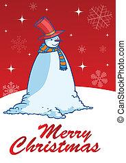 sneeuwpop, illustratie, vector, begroetenen, zalige kerst