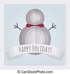 sneeuwpop, kaart, feestdagen