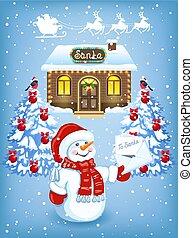 sneeuwpop, kerstman, woning, claus, tegen, arreslee, rendier, workshop, achtergrond, team, brief, kerstmis kaart