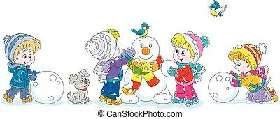 sneeuwpop, kleine, gekke , vervaardiging, kinderen
