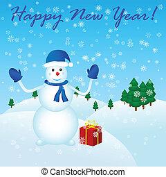 sneeuwpop, nieuw, vrolijke , cadeau, jaar