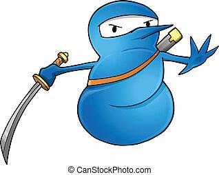sneeuwpop, ninja, vector, illustratie
