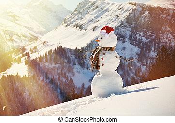 sneeuwpop, panorama, tegen, alpien