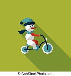 sneeuwpop, plat, cycling, schaduw, lang, pictogram
