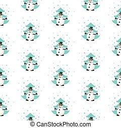 sneeuwpop, plezier, pattern., bos