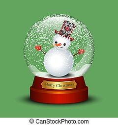 sneeuwpop, render, globe, sneeuw groen, achtergrond, 3d